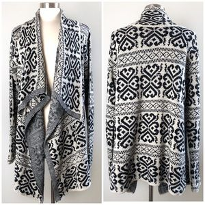 Cozy Casual | Damask Knit Waterfall Front Cardigan